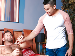 Hunter enters the room, shocked to look at Jake sounding himself daddy gay porn