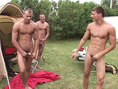 The Visconti triplets while filming a camp scene in here