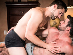 Muscular older gentleman Billy Santoro fucks gorgeous younger gentleman Griffin Barrows in a hot, clandestine fucking scene filled with kissing, rimming and foreplay culminating in double explosive cum shots and deep after-sex kissing. Wild and passionate