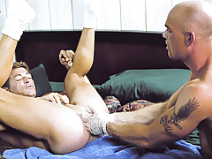 Scott Lays On His Back To Let Lance Fist Him Subterranean As This boy Can! daddy gay porn