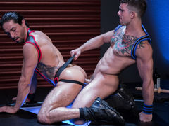 Mikoah Kan is down on hands and knees and untying Sebastian Kross' jock to reveal what hot, huge surprise lies underneath. After Mikoah unleashes the beast, Sebastian shoves his covert cock down Mikoah's windpipe without hesitation. The throat very comme