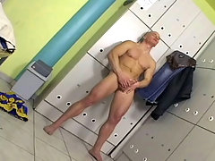 Sensual dude wank in the locker room until he cum on himself daddy gay porn
