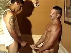 Handsome gays practise anal skills daddy gay porn