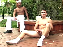 Cute army guy having fun playing with his cock outdoor