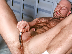 Dirk works over his shaggy strapping body & probes his ass daddy gay porn
