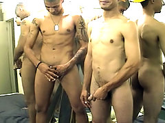 Two handsome dudes suck cocks , jerk off and cum in here