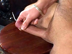 Sensual male whack off in his kitchen and cum all over