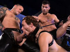 Puppy handler Lance Hart leads Mickey Mackenzie around on a black leather leash. With a tail plugging his hole and a mask over his face, Mickey surrenders his humanity and dives headlong into his submissive pup mind. As Mickey sniffs around the room, this daddy gay porn