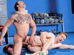 Sebastian Kross is showing off his hard earned physique to gym-buffed Gabriel Cross. Hands roam as they kiss, and jocks leap to erection in the confines of their jock straps. Gabriel zeroes in on Sebastian's pits with broad, sweeping strokes of his tongue