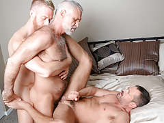 3 men from different decades hook up in a tasty three way daddy gay porn