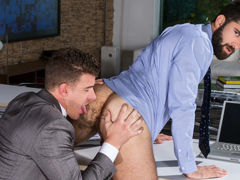 Willing collaborator Tegan Zayne is in the office trying to figure out how to complete a short sale, JJ Knight comes over to help him resolve the tricky issue. When they solve that problem, they move on to a harder challenge for Tegan: servicing JJ's mass daddy gay porn