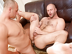 Cock-hungry hairy bully David slobbers over Enzo's veiny rod
