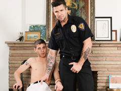 Sam is in trouble with the law and this time Officer Ducati is going to make him pay his dues. Sam has been busted caning off in the storage room again and his assistant has ratted him out to cover his own ass. Officer Ducati grills him with questions til daddy gay porn