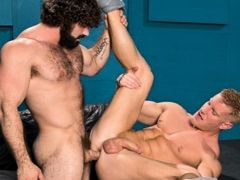 Johnny V is a blond musclebound bottom hunk who can't wait to get fucked. Jaxton Wheeler is a hairy mountain of a man with a thick cock that make daddy gay porn