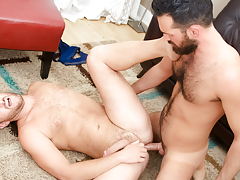 Rich's aching schlong obtains some of Lucas' tight hairy apple bottoms daddy gay porn