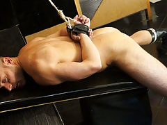 Leonardo is fastened up and locked in a dungeon cage. 10 cameras are recording him while a voice tells him what to do if this guy wants to escape. How far will this guy go to manageable the locks? daddy gay porn