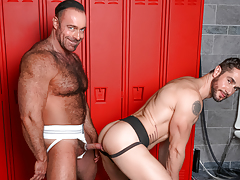 Dean & Brad pull their weenies from their jocks at the lockers daddy gay porn